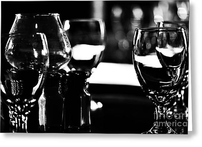 Wine Glasses On Table Greeting Card by Danny Hooks
