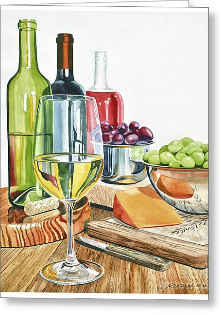 Wine Grapes And Cheese Greeting Card by Rick Mock
