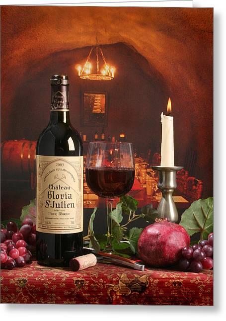 Wine In Le Cav Greeting Card by Mel Felix