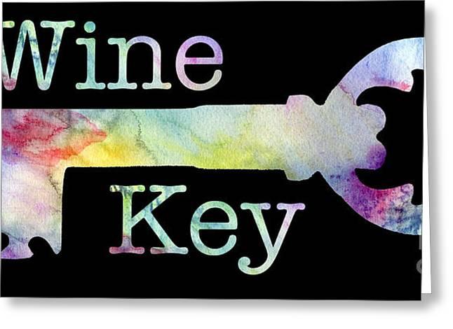 Wine Key Watercolor Greeting Card by Jon Neidert