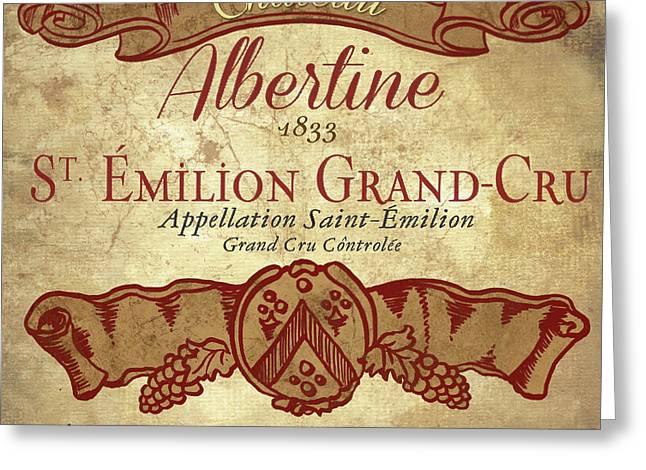 Wine Label Iv Greeting Card by Elizabeth Medley