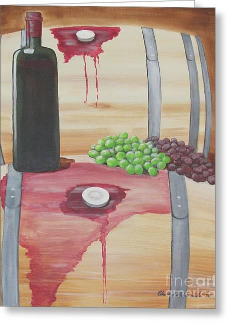 Wine N Grapes Greeting Card