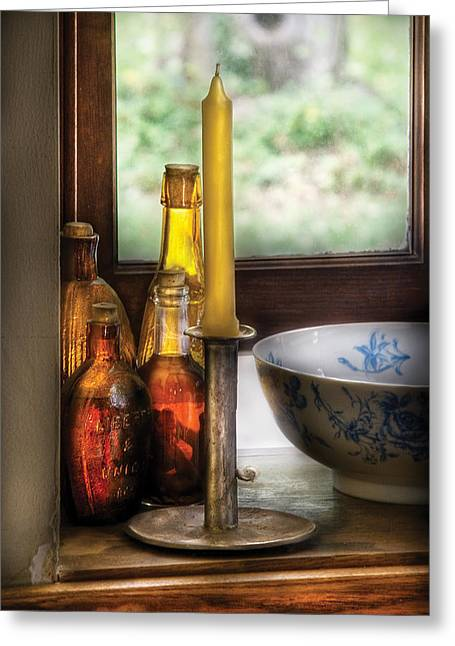 Wine - Nestled In A Corner Of A Window Sill  Greeting Card