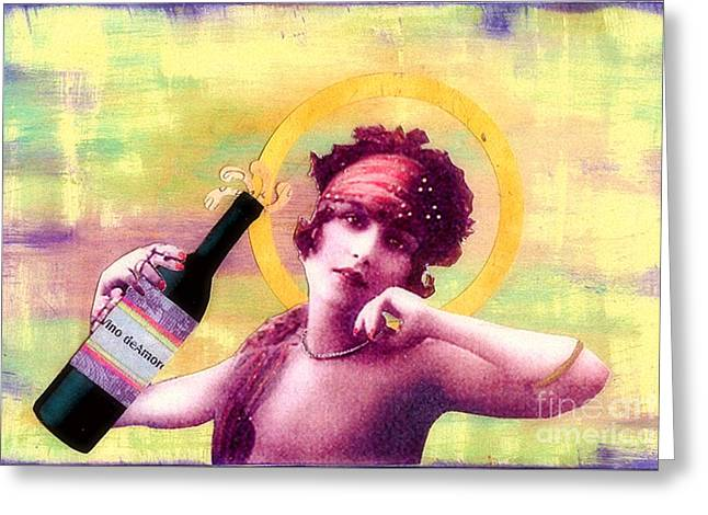 Greeting Card featuring the painting Wine Of Love by Desiree Paquette