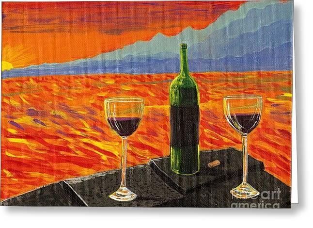 Wine On Sunset Terrace Greeting Card by Vicki Maheu