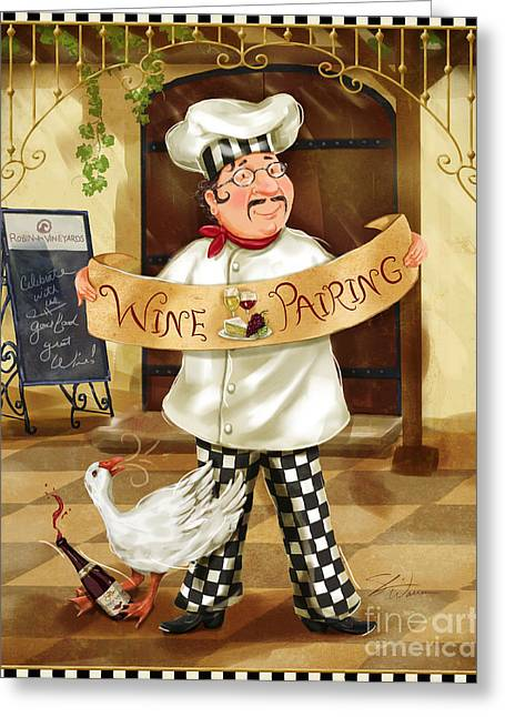 Wine Pairing Chef Greeting Card by Shari Warren