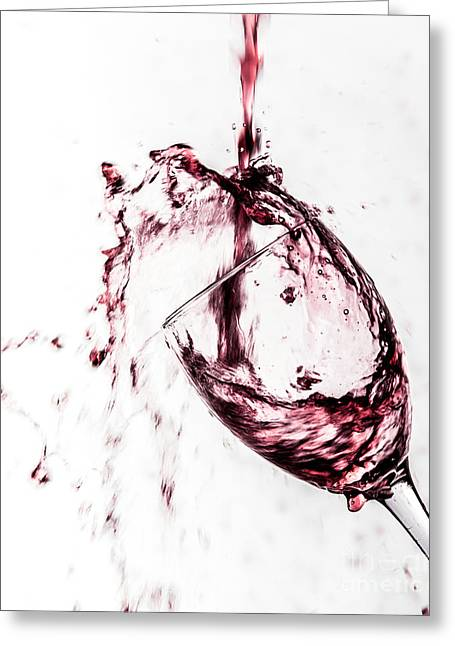 Wine Pour Splash In Color Greeting Card by JC Kirk