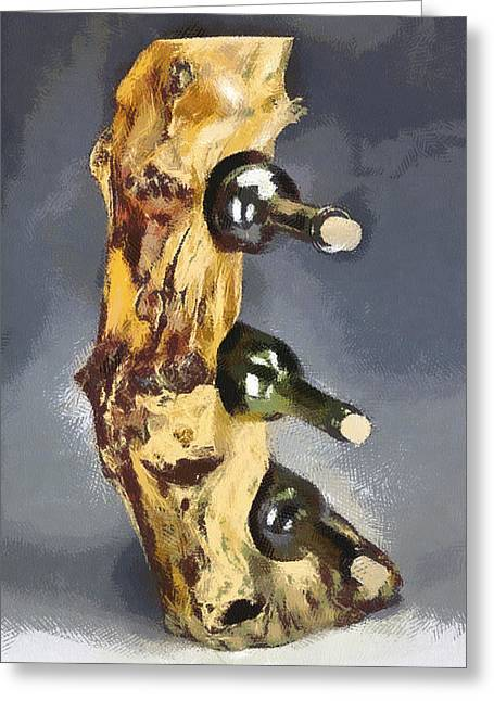 Wine Rack A Piece Of Wood Greeting Card by Georgi Dimitrov