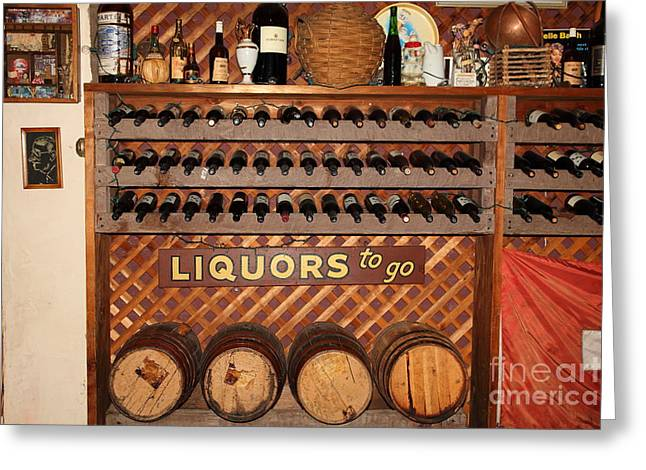 Wine Rack In The Cellar Room At The Swiss Hotel In Sonoma California 5d24451 Greeting Card by Wingsdomain Art and Photography