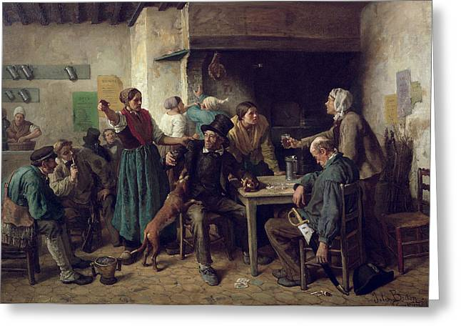 Wine Shop Monday, 1858 Oil On Canvas Greeting Card by Jules Breton