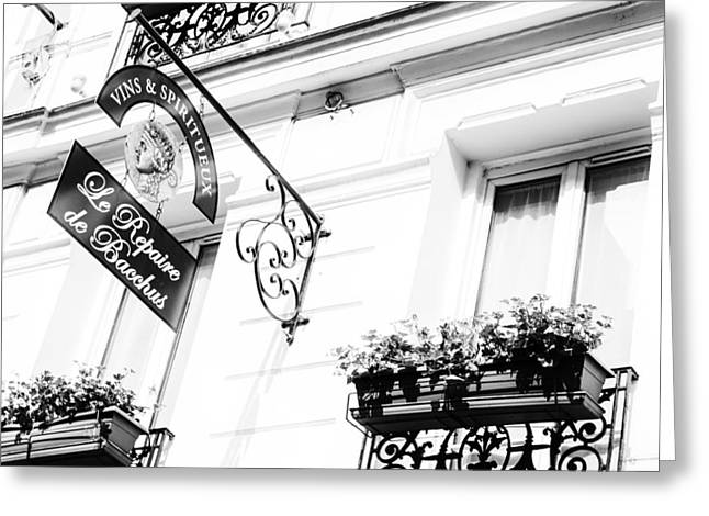 Wine Store Sign Black And White Greeting Card