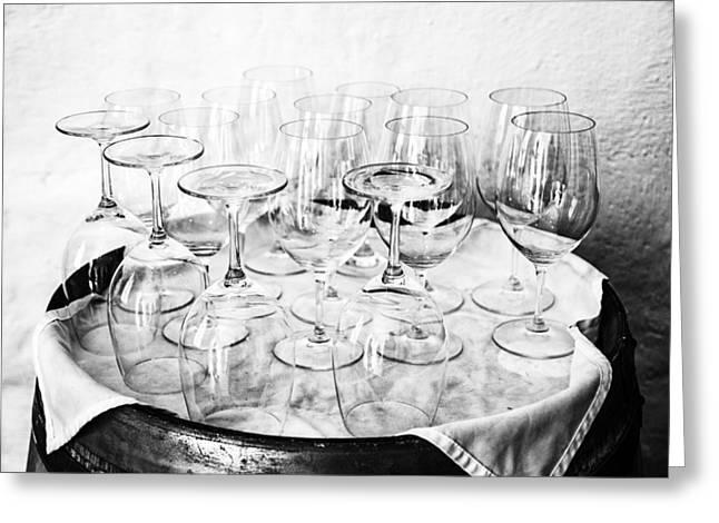 Wine Tasting Glasses In Black And White Greeting Card by Georgia Fowler