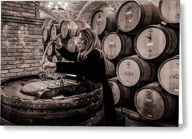 Wine Tasting Greeting Card by Linda Villers