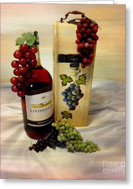 Wine To Be Enjoyed Greeting Card by Carol Grenier