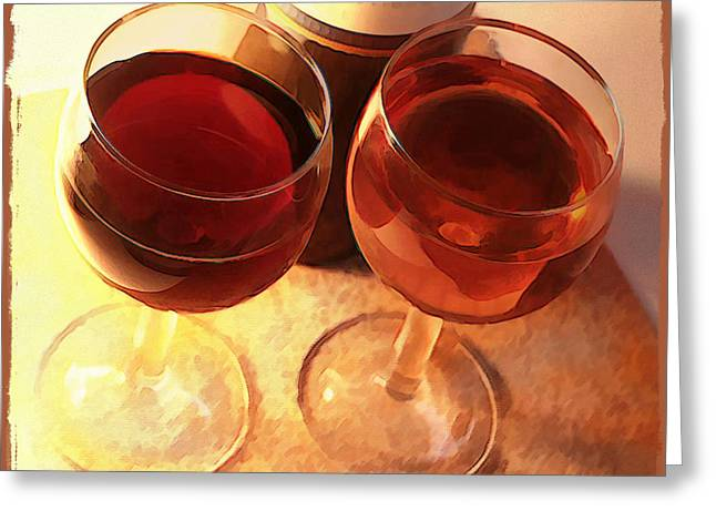 Wine Toast In Watercolor Greeting Card by Elaine Plesser