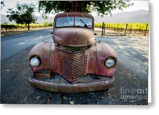 Wine Truck Greeting Card by Jon Neidert