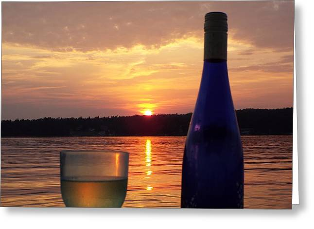 Wine Water Sunset Greeting Card by Cindy Croal