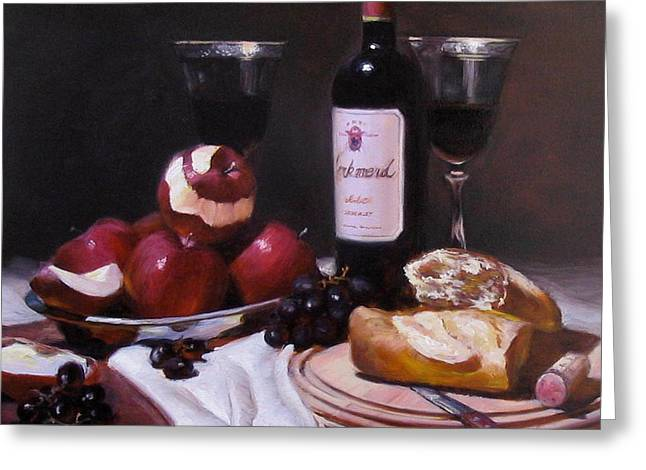 Wine With Peeled Apples Greeting Card by Takayuki Harada