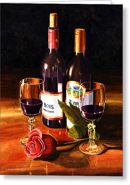 Wine With Rose Greeting Card