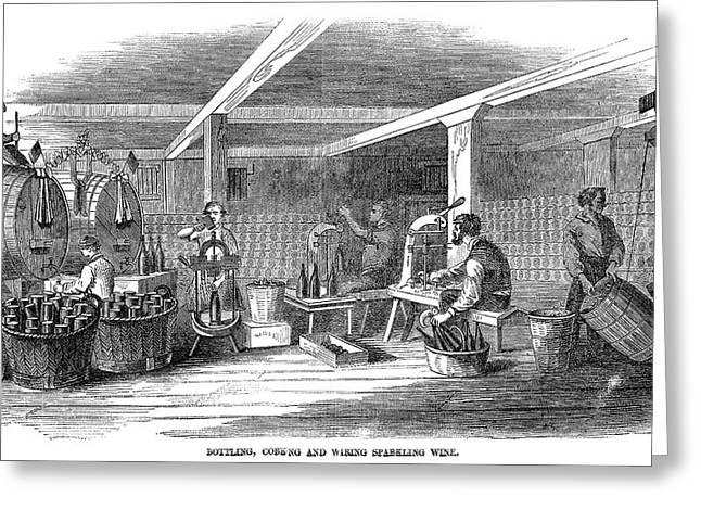 Winemaking Bottling, 1866 Greeting Card by Granger