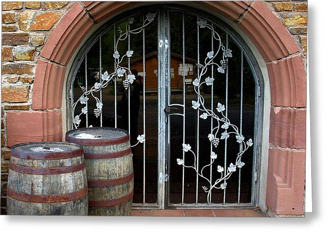 Winery Doors Greeting Card by Gerry Bates & Winery Doors Photograph by Gerry Bates