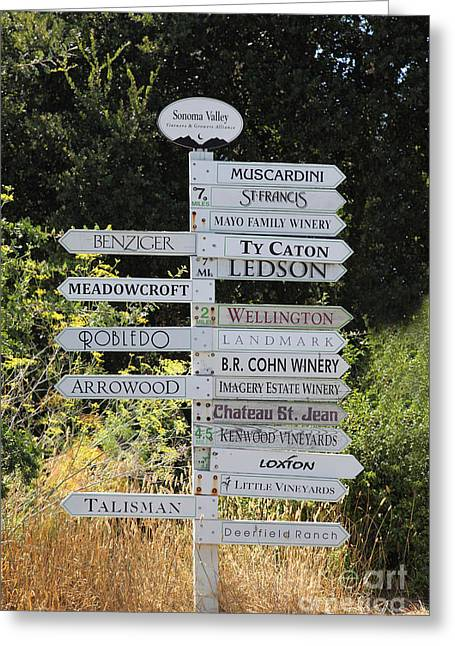Winery Street Sign In The Sonoma California Wine Country 5d24601 Greeting Card