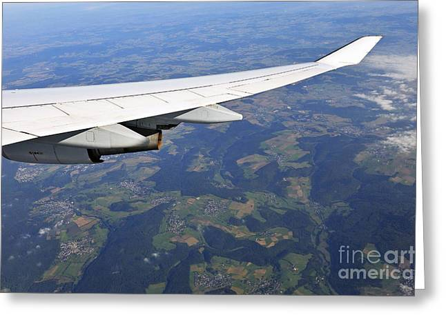 Wing Of Flying Airplane Over German Villages Greeting Card by Sami Sarkis
