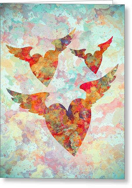 Winged Hearts Watercolor Painting Greeting Card by Georgeta Blanaru