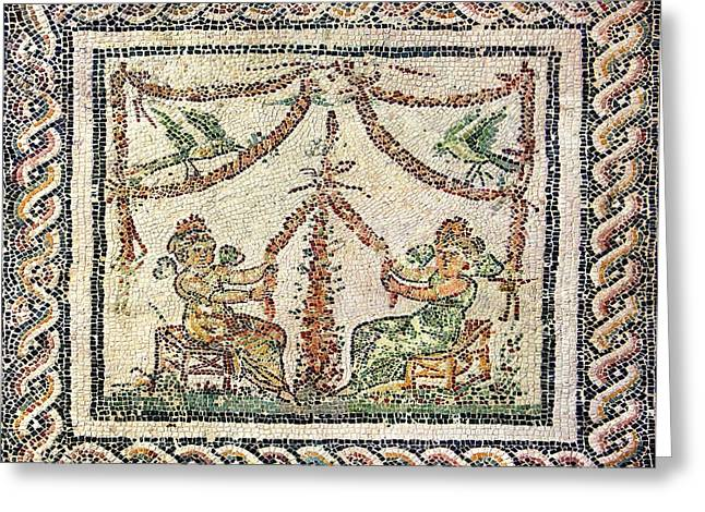 Winged Maidens Weaving Garlands Greeting Card by Sheila Terry