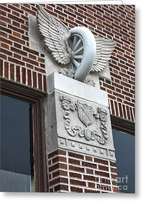 Winged Tire - Grinnell Iowa Greeting Card by Gregory Dyer