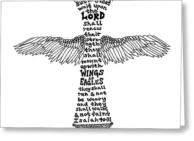 Wings Cross Greeting Card by Leigh Eldred