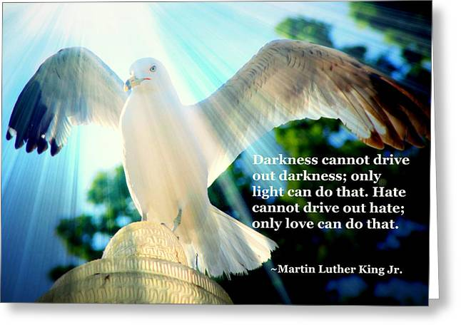 Wings Of Freedom Illuminated With Martin Luther King Jr. Quote II Greeting Card