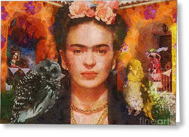 Wings Of Frida Greeting Card by Mo T