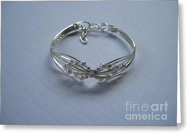 Wings Of White Pearls Bracelet Greeting Card by Holly Chapman