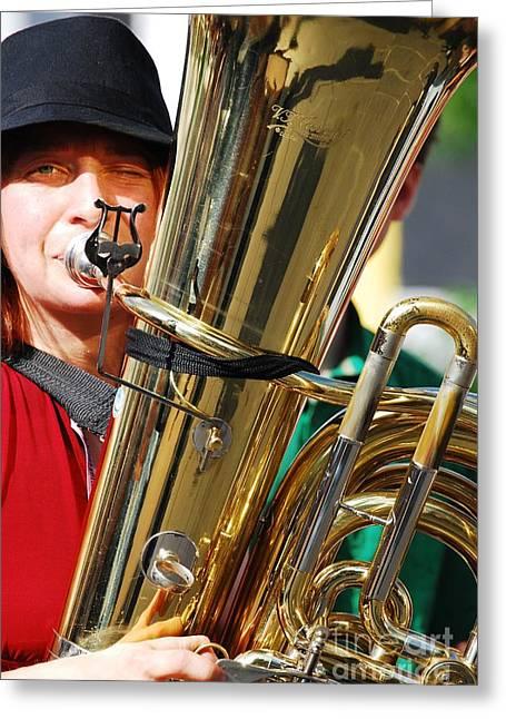 Winking Musician Greeting Card by Susan Hernandez