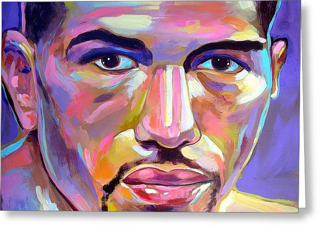 Greeting Card featuring the painting Winky Wright by Robert Phelps