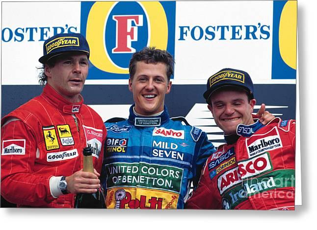 1994 Pacific Grand Prix Podium Greeting Card by Oleg Konin