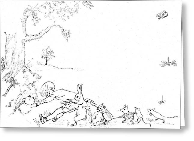 Winnie The Pooh And Crew In Pen  And Ink After E H Shepard Greeting Card by Maria Hunt