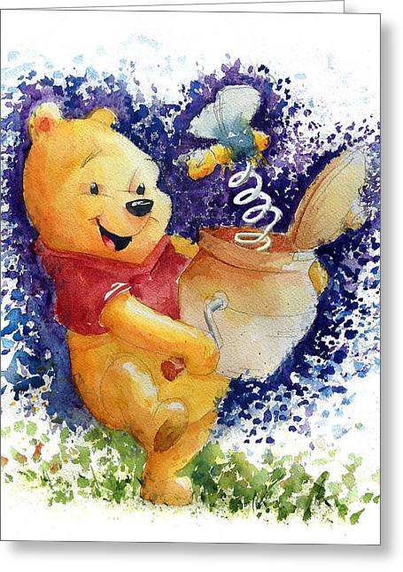 Winnie The Pooh And Honey Pot Greeting Card