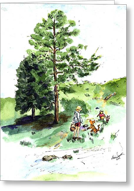 Winnie The Pooh With Christopher Robin After E H Shepard Greeting Card by Maria Hunt
