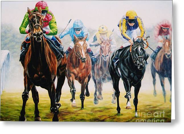 Winning As She Pleases At Ascot Greeting Card by Tom Chapman