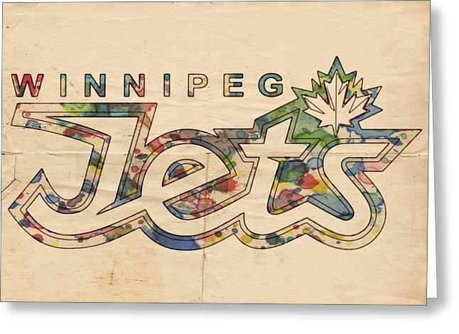 Winnipeg Jets Retro Poster Greeting Card