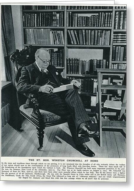 Winston Churchill  At Home, Reading Greeting Card by  Illustrated London News Ltd/Mar