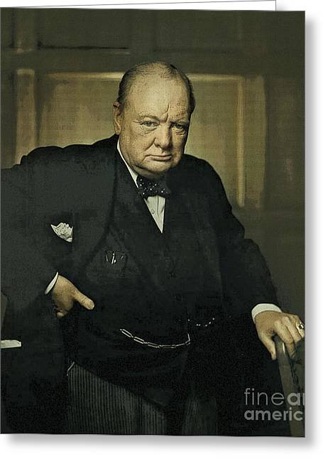 Winston Churchill Prime Minister Of Uk Greeting Card by Celestial Images