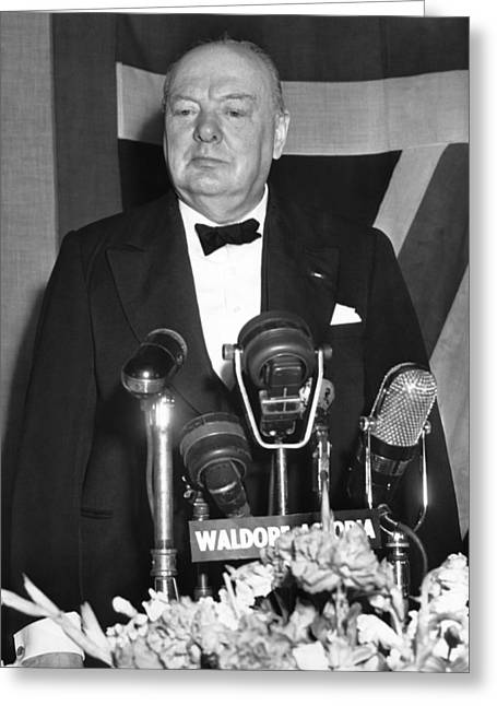 Winston Churchill Speaks Greeting Card by Underwood Archives