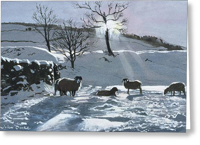 Winter Afternoon At Dentdale Greeting Card by John Cooke