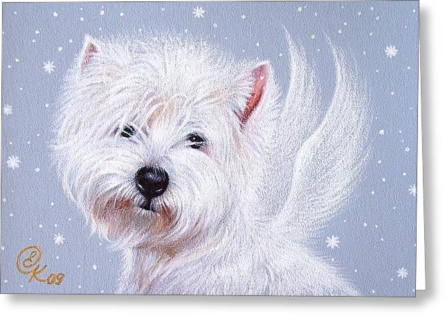 Winter Angel - Westie Greeting Card by Elena Kolotusha