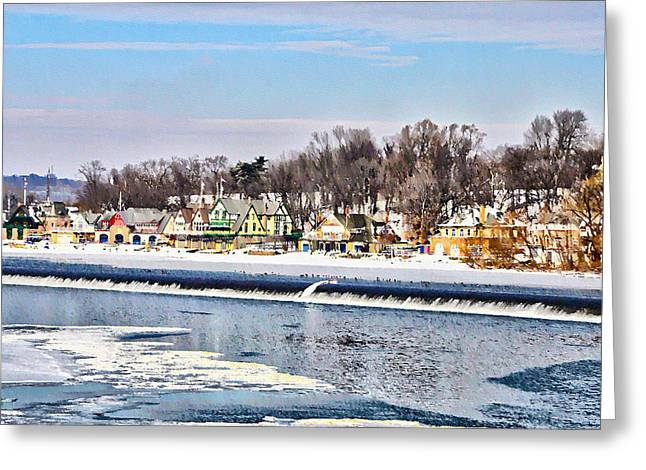 Winter At Boathouse Row In Philadelphia Greeting Card by Simon Wolter