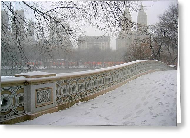 Winter At Bow Bridge Greeting Card