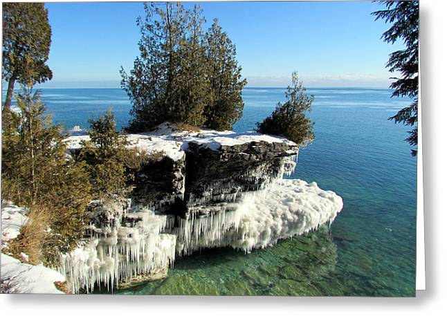 Winter At Cave Point Greeting Card by David T  Wilkinson